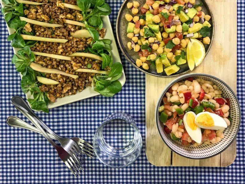 Salads with vegetables